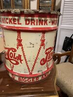 ANTIQUE PEPSI COLA SODA SYRUP DRUM TABLE ART CAN HOLDER TIN METAL SIGN STAND ADD