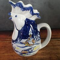Vintage Hand Painted Rooster Chicken Pitcher by Rivignano Fabbro Made in Italy