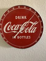 Vintage Round Thermometer Advertising Drink Coca Cola in Bottles Button No Glass