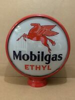 Vintage Mobilgas Glass Gas Pump Globe Original Station Garage Ethyl Sign Pegasus
