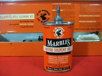 Vintage Marble's 3 oz. gun oil, oval lead top tin/can with cleaning kit