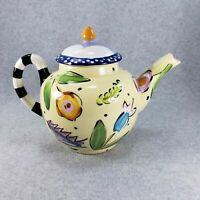 Droll Designs Teapot White Pink Purple Pink Blue Flowers Floral Hand Painted