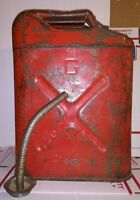 Vintage Military USMC Jerry Fuel Gas Can Jeep Red Metal With Spout 20-5-82