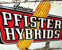 1950s Pfister Hybrids Corn Sign Farm Seed Feed Cow Pig Hen Vintage Original OLD