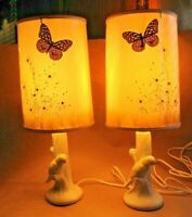 Vintage Pair of Van Briggle Pottery Lamps with Butterfly Shades 18