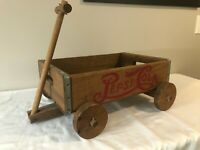 Vintage PEPSI COLA Case Wood Wagon Pull Toy Cart Display Or Toy with 1905 Logo