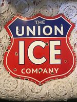 """Porcelain The Union Ice Company Shield Shaped Advertising 13"""" Sign"""