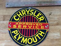 Vintage Chrysler Plymouth Approved Service Porcelain Gas and Oil Pump Plate