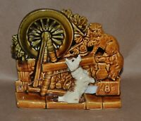 Vintage McCoy Pottery Spinning Wheel Scottie Dog & Cat Planter