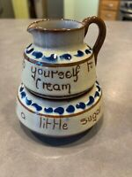 Vintage Watcombe Pottery Torquay Motto Ware Stackable Sugar Creamer Flower Decor