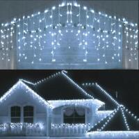 Xmas LED Curtain Icicle Wave String Lights Lamp Wedding Party Outdoor Waterfall
