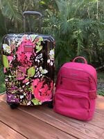 Tumi V4 International Carry-On Luggage Collage Floral Hagen Backpack Magenta Set