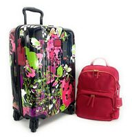 Tumi V4 International Carry On Luggage Collage Floral Dori Backpack Set Pink