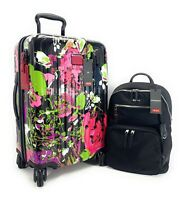 Tumi V4 International Carry On Luggage Collage Floral Hagen Backpack Set Black