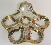 Antique Oyster Plate by Boteler Elaborate Gold and Repaired!