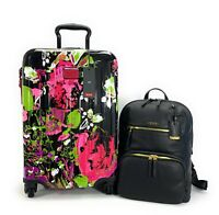 Tumi V4 International Carry On Luggage Collage Floral Leather Halle Backpack Set