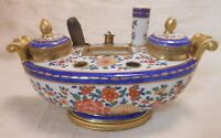Great Colorful Antique Ormolu Mounted French Porcelain Inkwell With Samson Marks