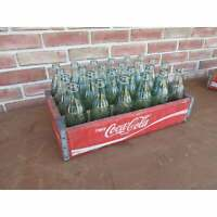Vintage Coca-Cola Wood Case With 24 Embossed Christmas Coca Cola Glass Bottles