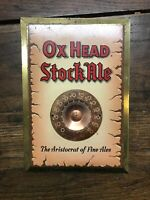 Vintage Ox Head Stock Ale Thermometer Tin Sign