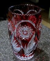 VINTAGE CRANBERRY RED CUT TO CLEAR HAND CUT OFNAH CRYSTAL GERMANY LARGE VASE