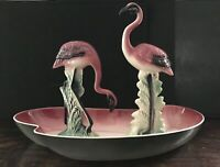 VTG 1952 MCM California Los Angeles Pottery Pink FLAMINGO POND With 2 Flamingos