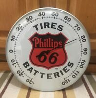 Phillips Tires Batteries Advertising Wall Thermometer Auto Parts Tools Garage