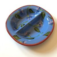 Droll Designs Split Bowl Blue Red Floral Hand Painted Art Pattern RARE 11