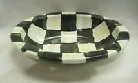 MacKenzie Childs Enamel Soap Dish Courtly Check Checkered Black White Great Cond