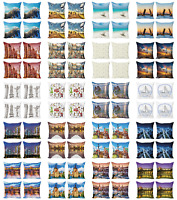 Ambesonne Travel Cushion Cover Set of 4 for Couch and Bed in 4 Sizes