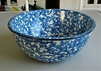 Vintage Stangl Pottery Town & Country Blue Spongeware Serving Bowl 8