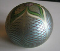 Orient & Flume 1978 feathered flower glass paperweight