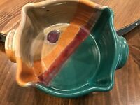 Signed 89' Walt Glass Pottery Small Oblong Casserole Serving Bowl Teal Brown