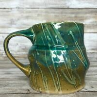 Hand Thrown Pottery Coffee Mug Raised Thrown Paint Lines Blue Green Marked