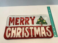 "Merry Christmas Platter Glass 8""x15"""