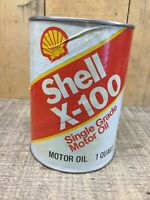 70'S - 80'S (Full) SHELL X-100 QUART OIL CAN,Composite Can Pre GOOD CONDITION