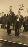 c1914 Two ID'd Men w Luggage At Train Station Going Off To World War I WWI RPPC
