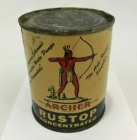 Vintage 1950#x27;s Archer Rustop Concentrated 8 Oz Metal Can Gas Sign Oil Full