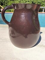 "Vintage Antique Large Brown Glazed Pottery Milk Pitcher - 10.75"" Tall"
