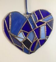 Stained Glass Heart Suncatcher in Shades Of Blues 7.3