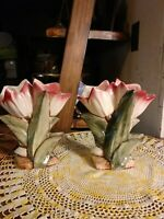 Pair of Matching Vintage McCoy Art Pottery Double Tulip Vases