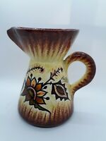 """QUIMPER FRANCE HAND PAINTED POTTERY PITCHER 6.75"""" Brown Yellow Sponge"""