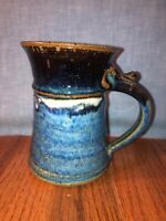 signed wheel Thrown Blue/Brown Stoneware Pottery Coffee Mug with thumb rest