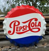 27 Inch Metal Pepsi Cola Bottle Cap Stout Sign