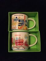 Starbucks London Manchester YAH Mug Set England Coffee Cup You Are Here UK New