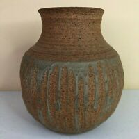 Hand Thrown Small Stoneware Vase Inside Glaze Striped Outer Glaze Stamped Mark