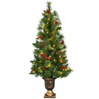 5ft Pre-Lit Christmas Entrance Tree In Urn 100 LED Lights Red Berries Pine Cone