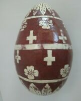 Large Slipware Decorated Redware Easter Egg - 8