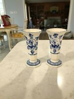 Royal Delft Blue and White Bud Flower Vases 5quot; Windmill Pair Handpainted Vintage