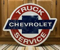 Chevrolet Truck Service Metal Sign Garage Vintage Style Tools Parts Oil Gas Bar
