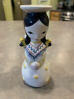 Vintage Nymolle Denmark Angel Candle Holder Figurine Hand Painted Black Yellow
